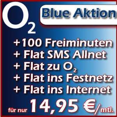 O2 Blue 100 mit 5-fach Flat in O2, Festnetz, SMS, Internet (300MB), Wahlnetz + 120 Minuten für 14,95/Monat