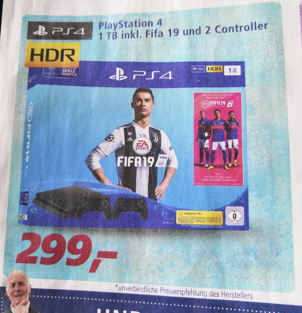 [Real (NRW?)] PS4 1 TB + 2. Controller + FIFA 19