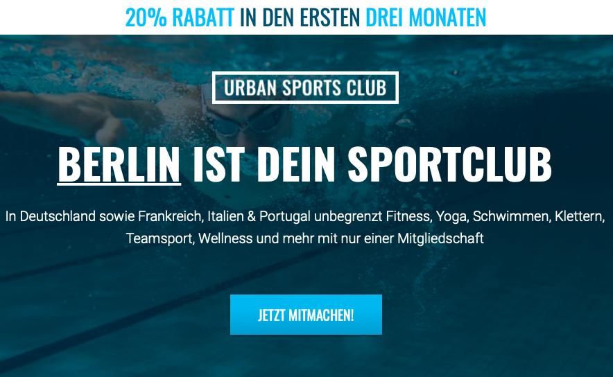 Urban Sports Club: 20% Rabatt für drei Monate