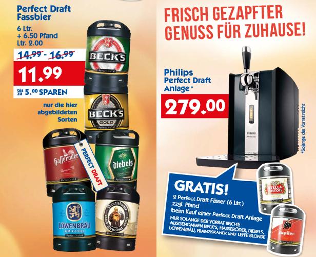 *Regional* Perfect Draft Angebote bei HolAb: Deutsche Sorten 11,99€, Leffe 16,99€, Maschine + 2 Fässer internationale Sorten für 279€