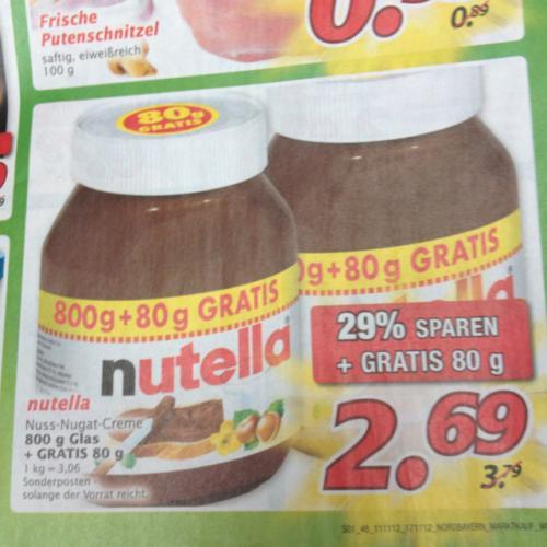 Marktkauf Nutella 880G 2,69€