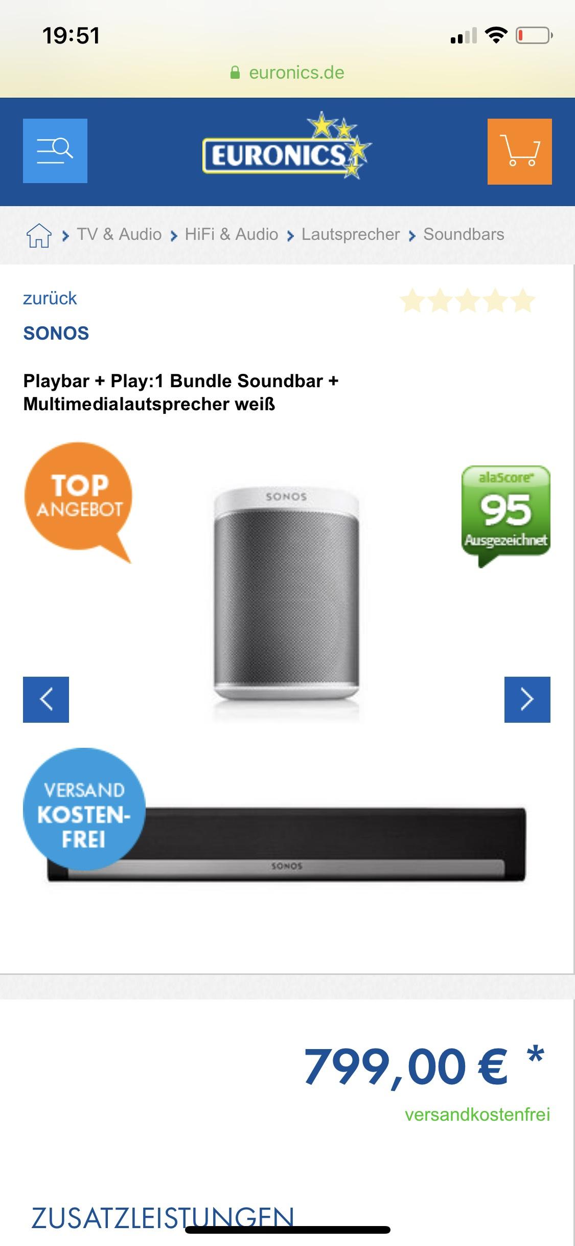 Sonos Playbar + Play: 1 Bundle
