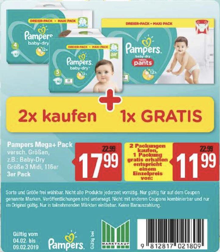 [Lokal Marktkauf] Pampers Mega+ Pack (2 kaufen, 1 gratis)