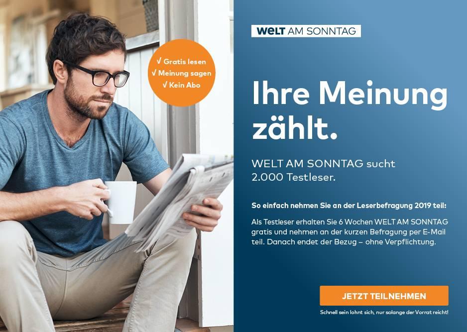 Welt am Sonntag/WAMS - 6 Wochen kostenlos- Endet Automatisch!