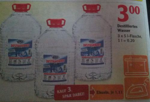 [Bundesweit? Globus] 15L Destilliertes Wasser für 3€
