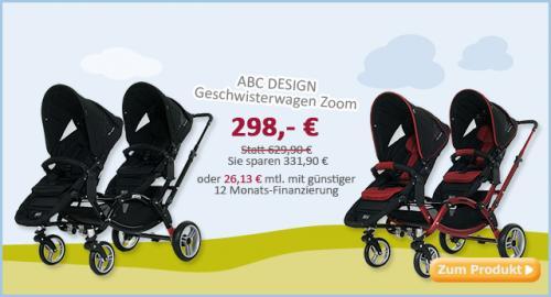 ABC Design Geschwisterwagen / Zwillingswagen Zoom online @babymarkt zum 1/2 Preis!