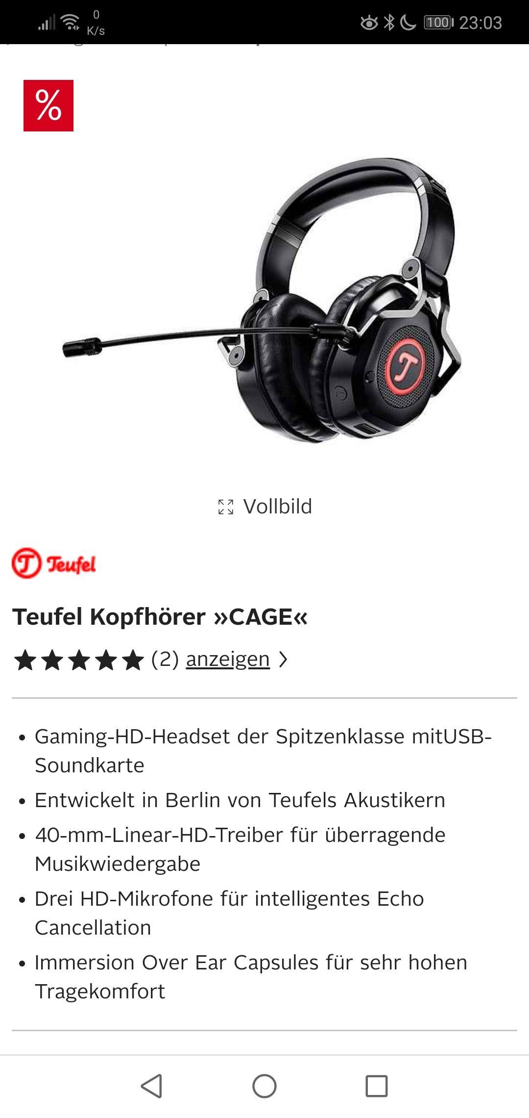 Teufel Cage Gaming Headset 199,99 bei Teufel.de