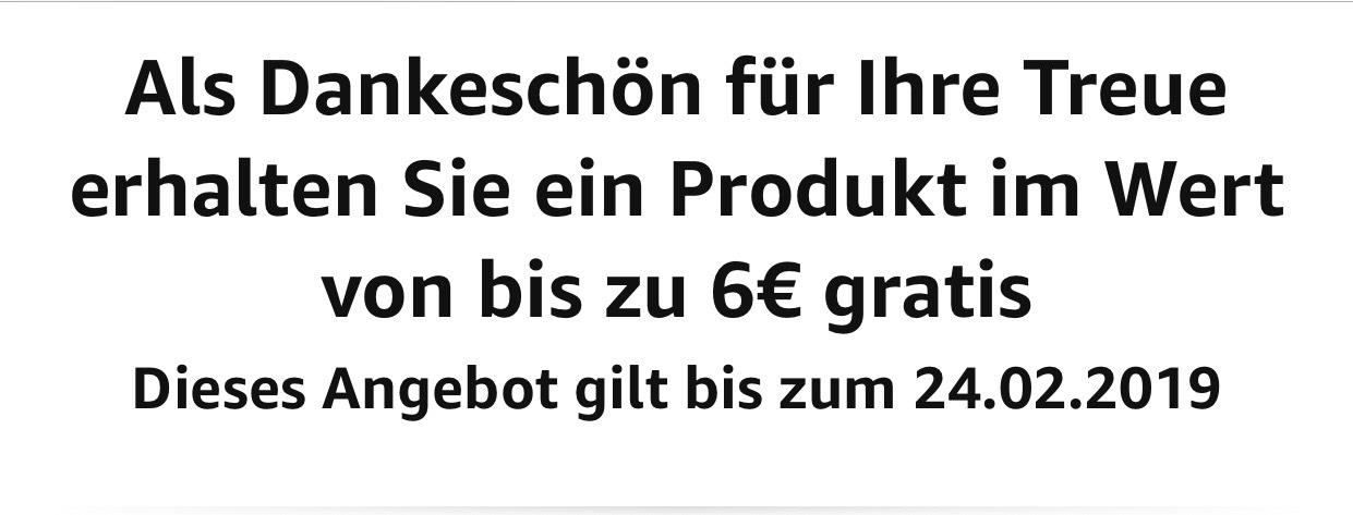 [Amazon] gratis Produkt für ausgewählte Kunden im Wert von 6€
