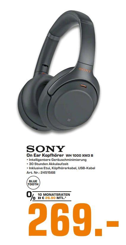 [Regional Saturn Stuttgart/Esslingen-Tagesdeal am 09.02] Sony WH-1000XM3 (Over-Ear) schwarz Bluetooth Kopfhörer, kabellos für 269,-€
