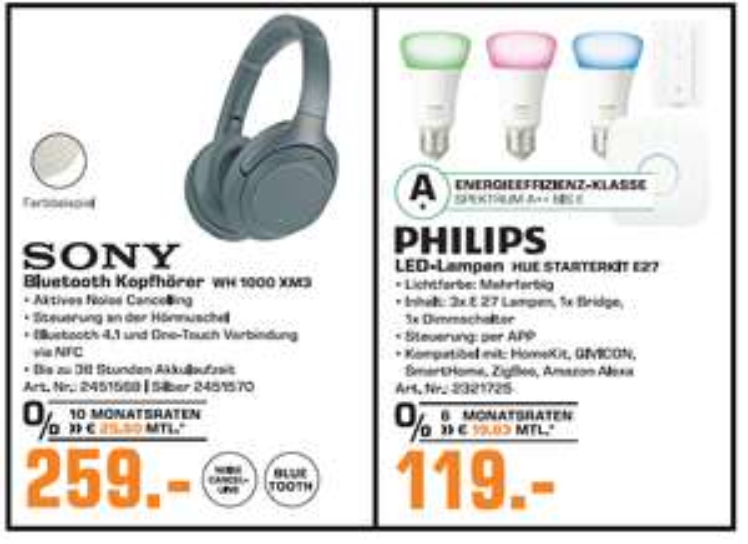 [Lokal: Saturn Kempten] SONY WH-1000XM3 silber / schwarz | PHILIPS Hue White & Color Ambiance 4th Gen Starter Kit für 119€ + 30€ Cashback