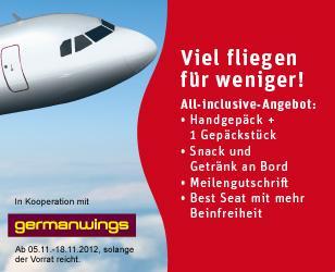German Wings + Rewe: Flüge für 39,99 Euro (deutschlandweit) bzw. 44,99 Euro (europaweit)