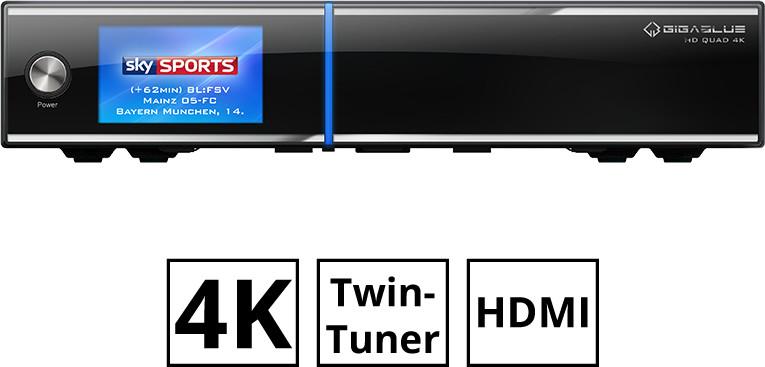 GigaBlue UHD Quad 4K (Enigma2, Twin Tuner, DVB-S2, 4K, Farbdisplay, HDMI-In und -Out, 5x USB, e-SATA, 2x CI, SD, Gigabit-LAN, PVR-ready)