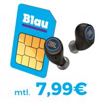 Blau Allnet L (3GB LTE, Allnet- & SMS-Flat) für 7,99€ / Monat inkl. JBL Free X Kopfhörer (im Wert von 128€) für einmalig 39€