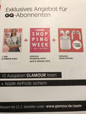 Apple AirPods + 1 Jahr Glamour + 2 Glamour Shopping-Cards