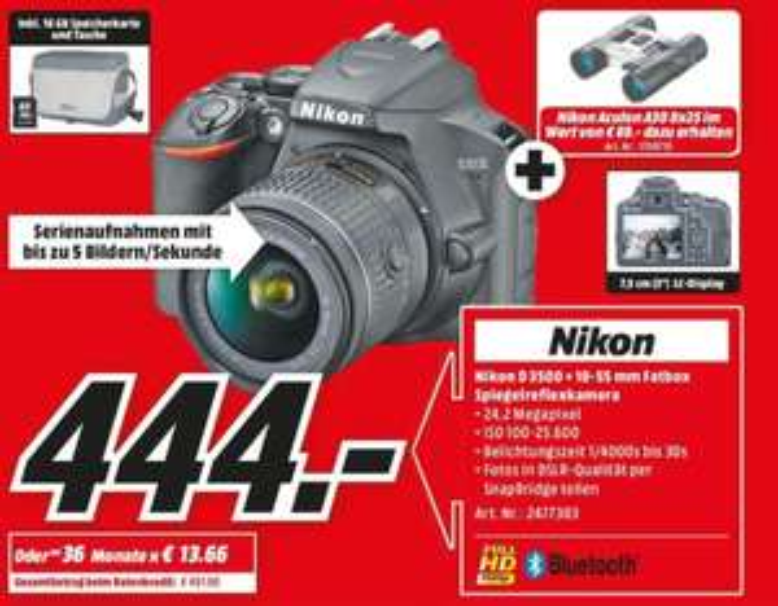 Nikon D3500 Kit + Zubehör + Nikon Aculon A30