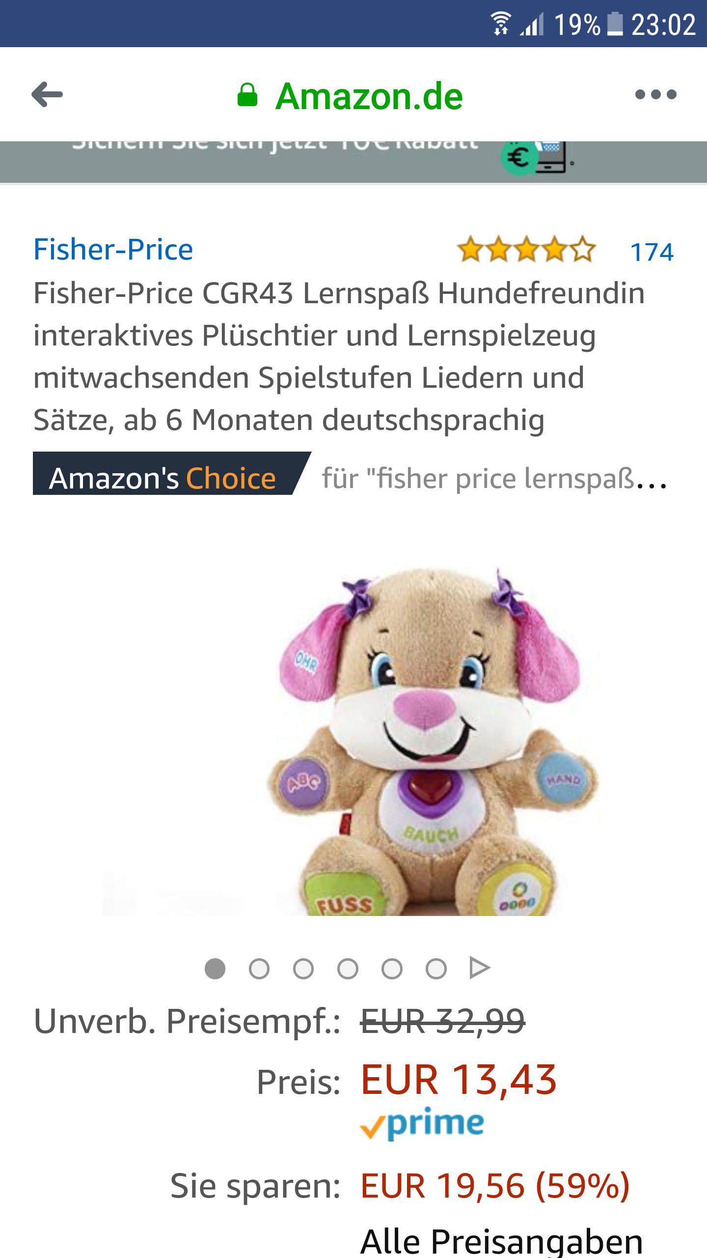 (Amazon) Fisher-Price CGR43 Lernspaß Hundefreundin interaktives Plüschtier und Lernspielzeug