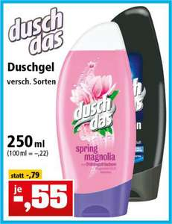 Duschgel duschdas in versch. Sorten (250ml) für 55 Cent [Thomas Philipps ab 11.02.]