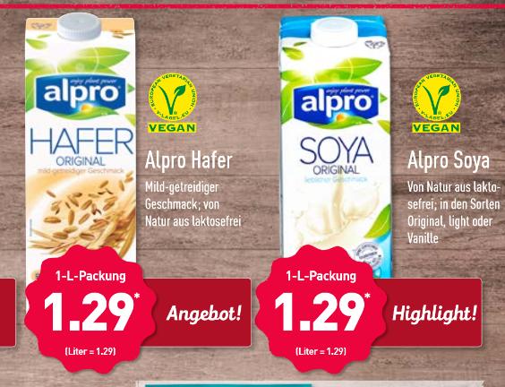 Alpro Hafer und Alpro Soya für 1,29 Euro je Liter bei Aldi Nord