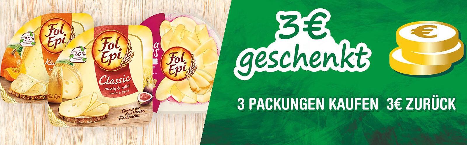 [ich liebe Käse.de] 3,00 € Cashback oder Spende beim Kauf von 3 Aktionspackungen Fol Epi