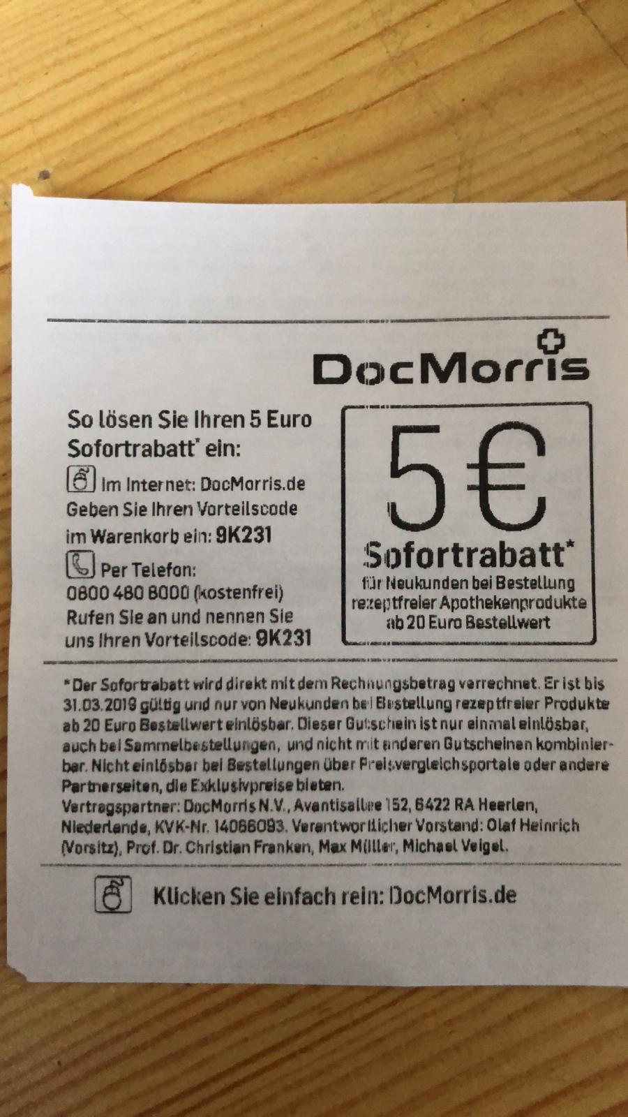 5€ Rabatt - DocMorris Versandapotheke - MBW 20 Euro - nur für Neukunden