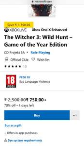 """The Witcher 3 GOTY"" Xbox One im indischen Store"