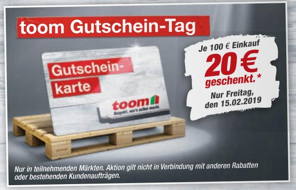 toom Gutschein-Tag (ab 100 EUR Einkauf = 20 EUR Gutschein)