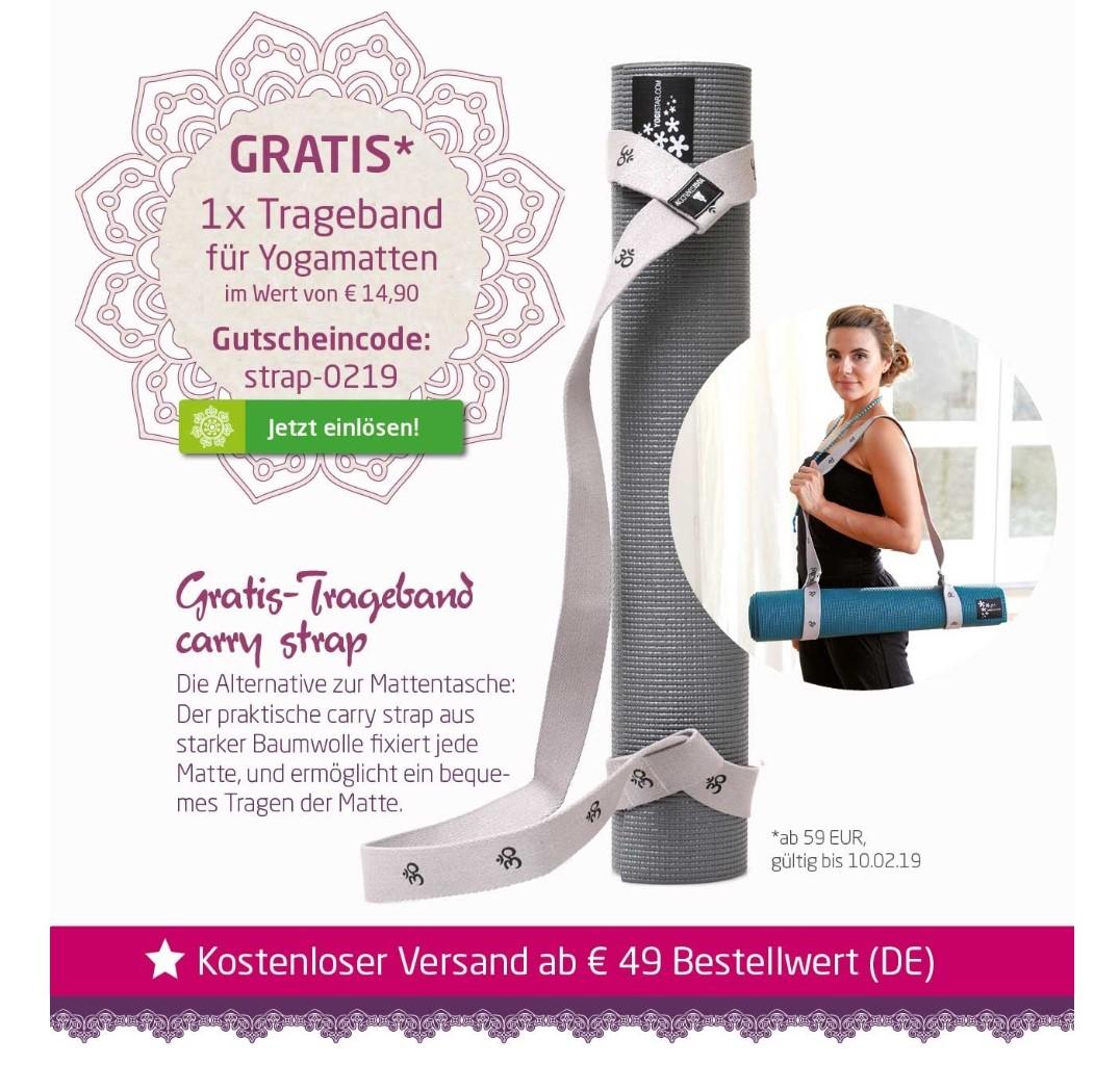 [GRATIS] Trageband für Yogamatten im Wert von 14,90 € (MBW 59€) bei yogistar.com
