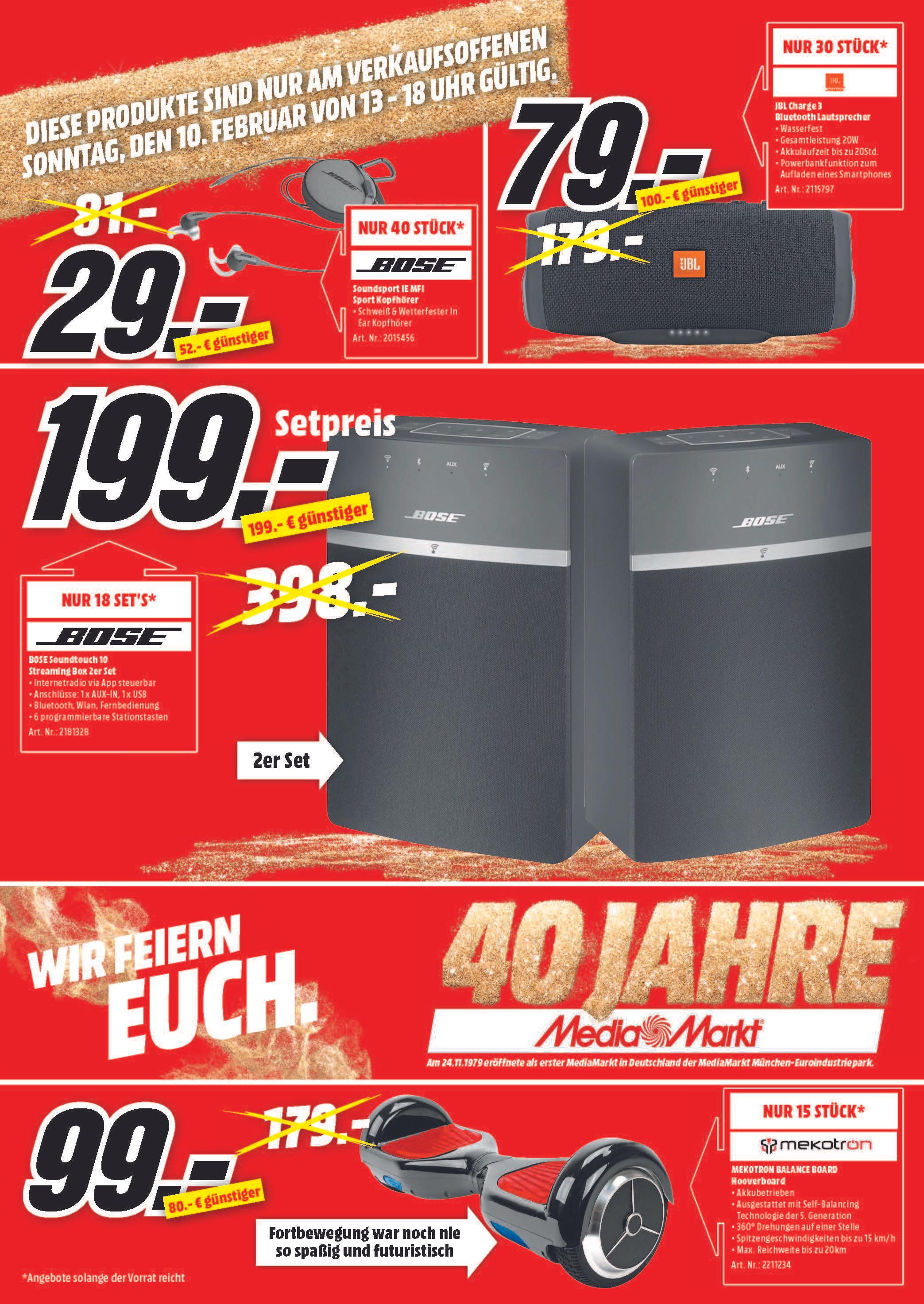 [Lokal: Media Markt Neunkirchen am 10.02.] BOSE Soundtouch 10X2 | Switch + Mario Party für 299€ | Nintendo 2DS + Mario Kart 7 für 75€ | uvm.