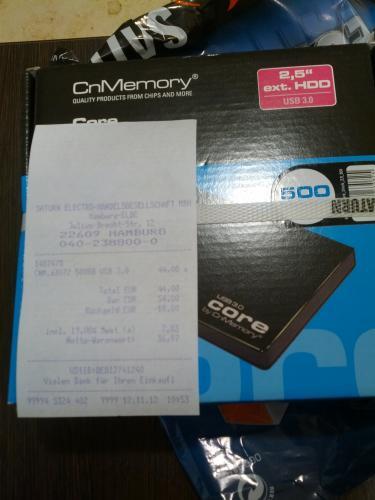 cn memory 500 GB USB 3.0 für 44€