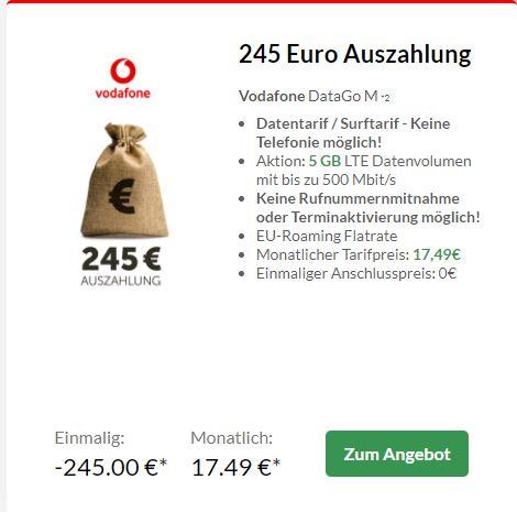 Preisbörse24: Vodafone DataGo M (5GB LTE) für eff. 7,28€/M durch 245€ Auszahlung | DataGo L (12GB LTE) für eff. 9,57€ durch 430€ Auszahlung *UPDATE* oder mit Telefunken D48F282N4CWI Smart TV