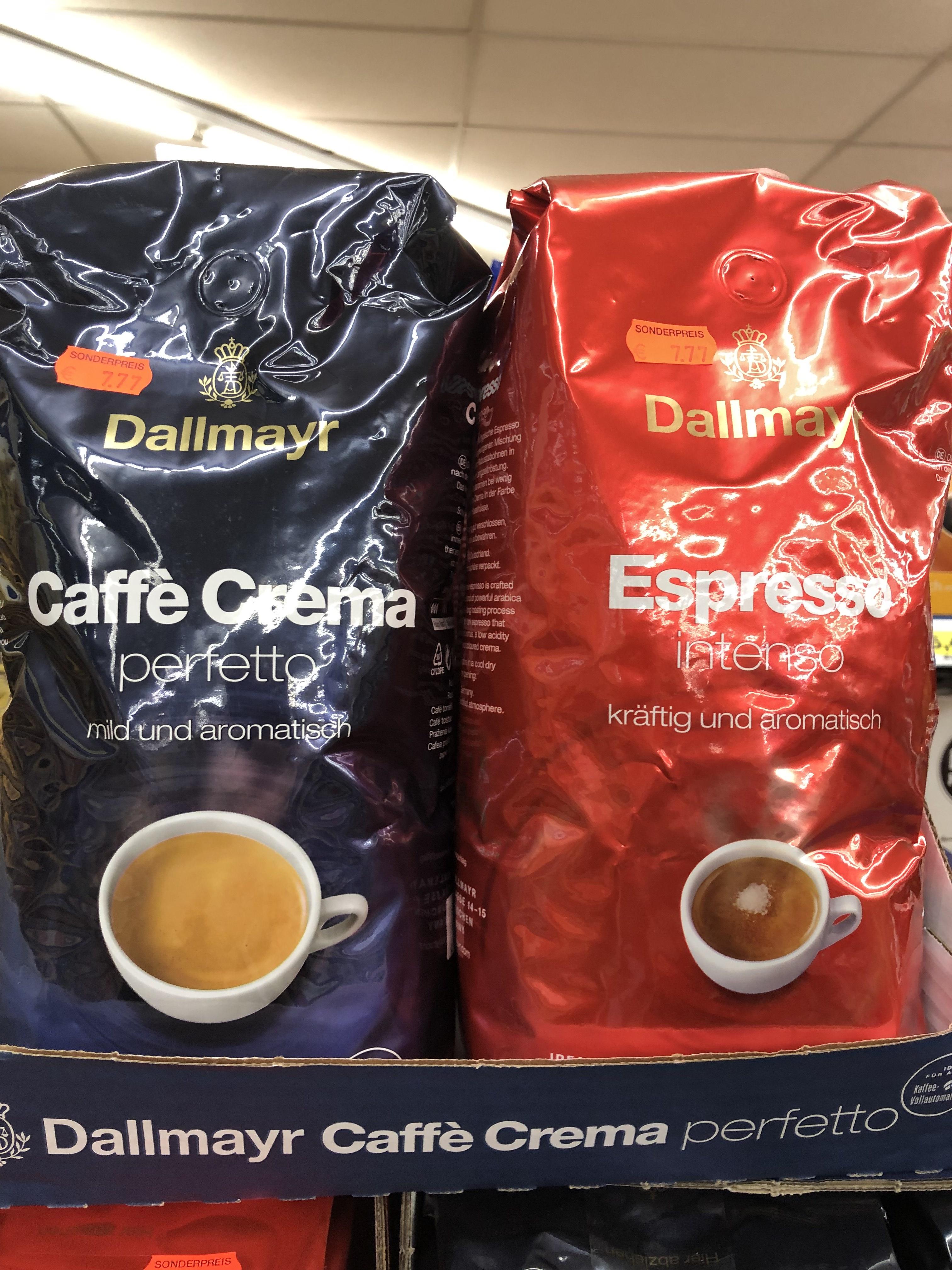 Dallmayr Caffè Crema Perfetto und Espresso Intenso, ganze Bohnen, 1 Kg für 7,77 € im Edeka Siegen Weidenau [Lokal]