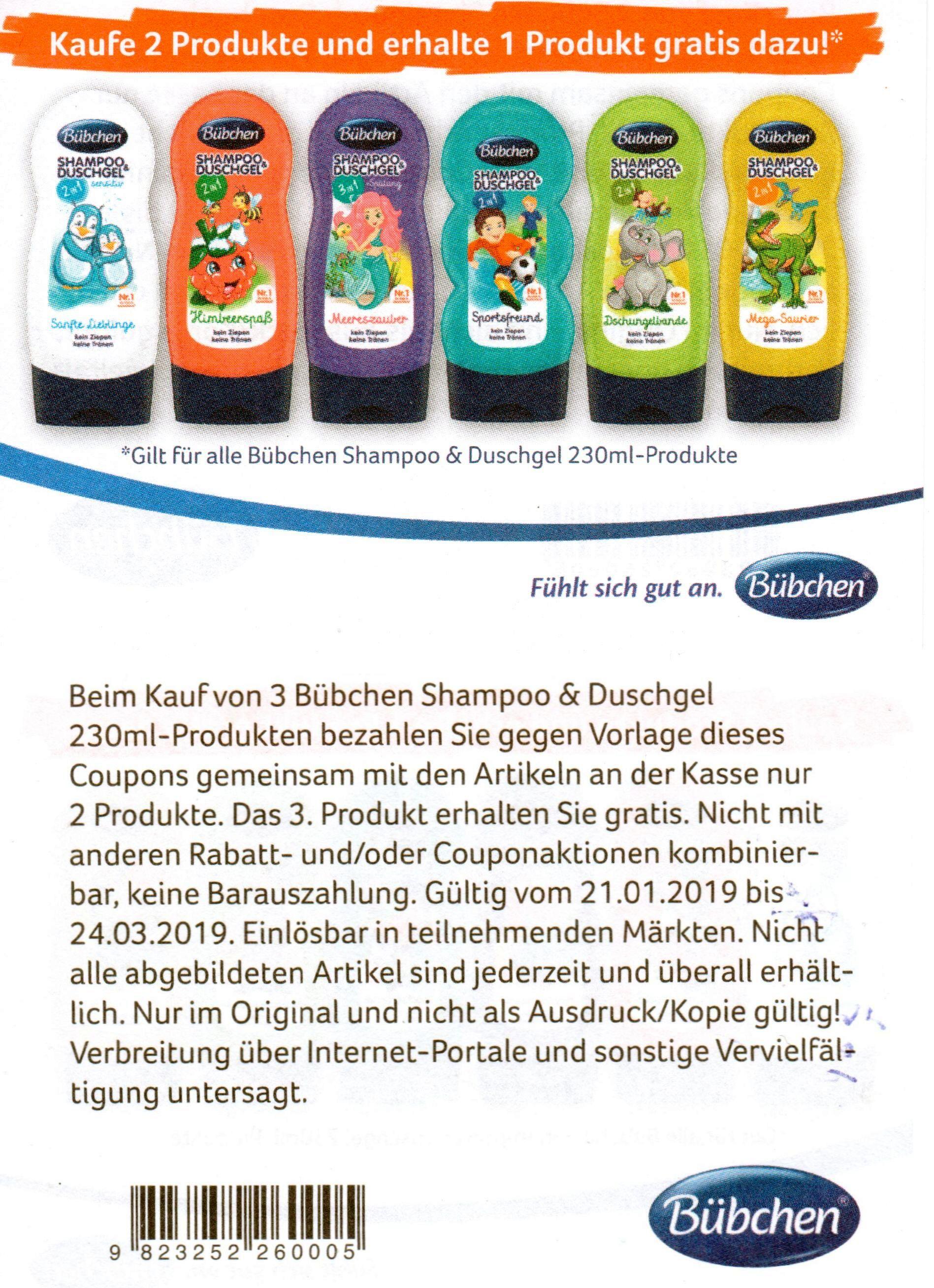 2+1 Coupon für Bübchen Shampoo & Duschgel 230ml