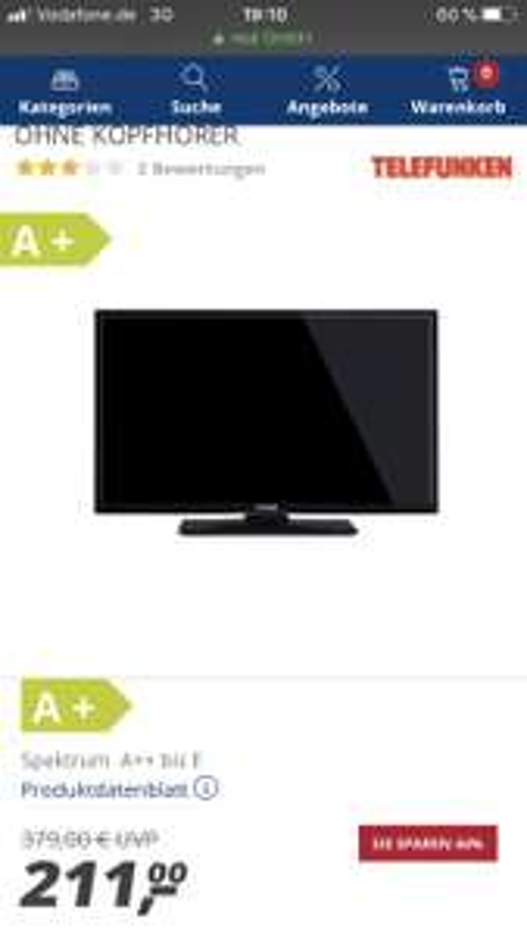 Telefunken Full HD LED 102 cm (40 Zoll) D40F287N4CWI Smart TV, Triple Tuner - OHNE KOPFHÖRER