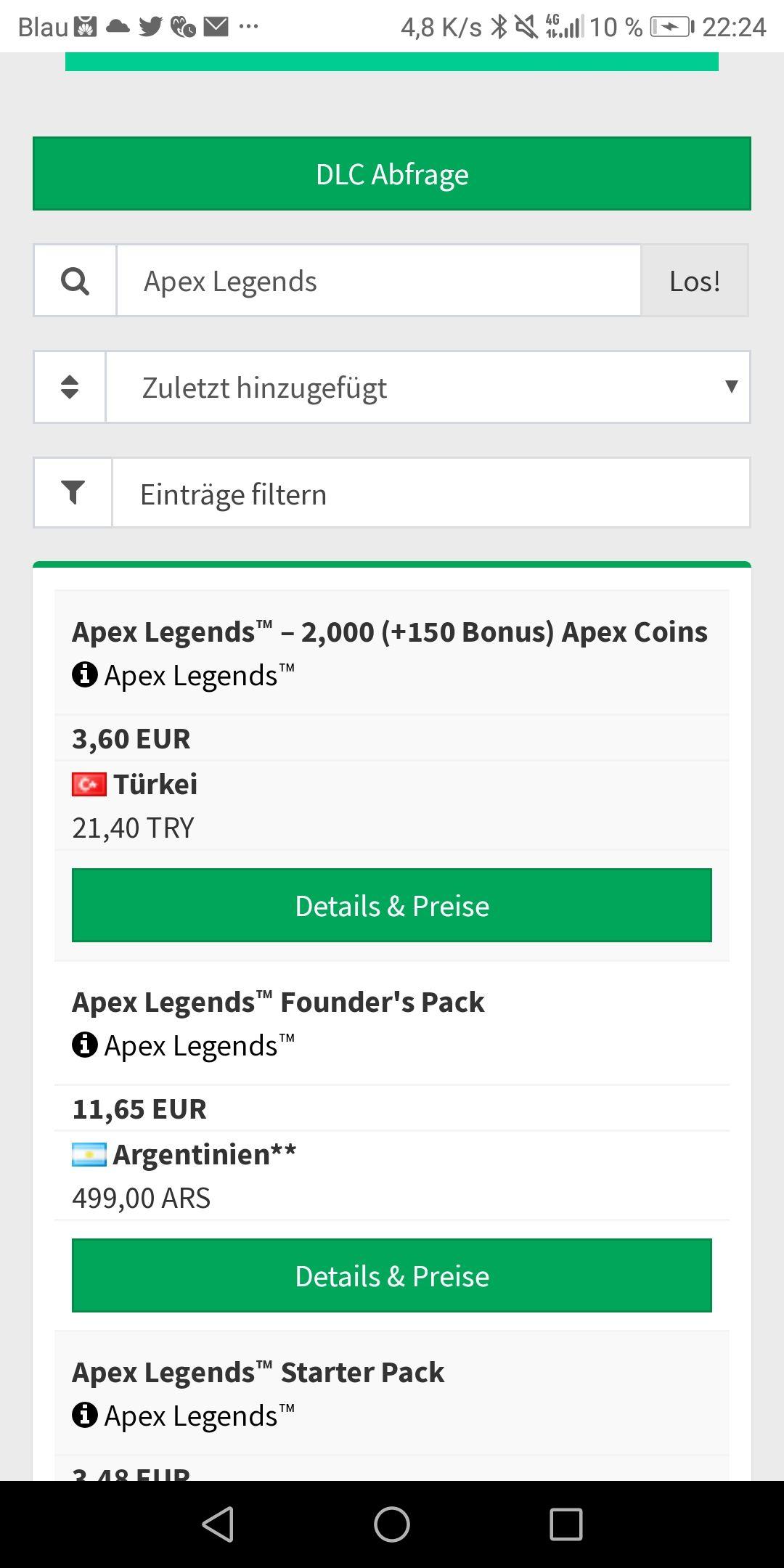 Immer die besten Xbox Preise! 2000 Apex Points für 3,60€