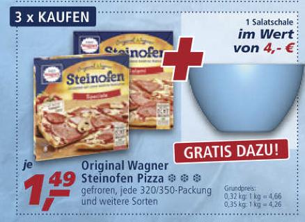 3 x Original Wagner Steinofen Pizza + Salatschüssel gratis dazu