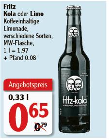 [Globus Rostock] Fritz Kola / Limo - verschiedene Sorten - 0,33l Flasche