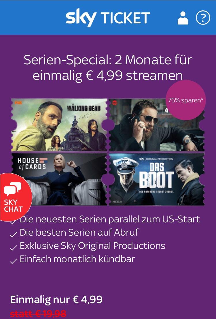 Sky Ticket Serien-Special: 2 Monate für einmalig € 4,99 streamen
