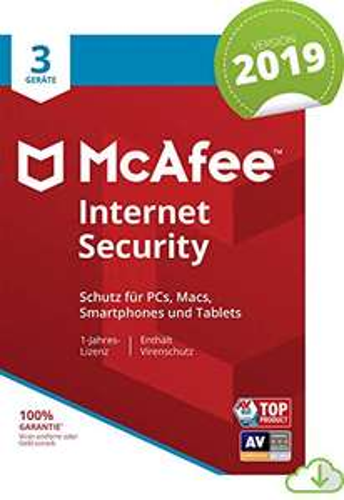 McAfee Internet Security 2019   3 Geräte   1 Jahr   PC/Mac/Smartphone/Tablet