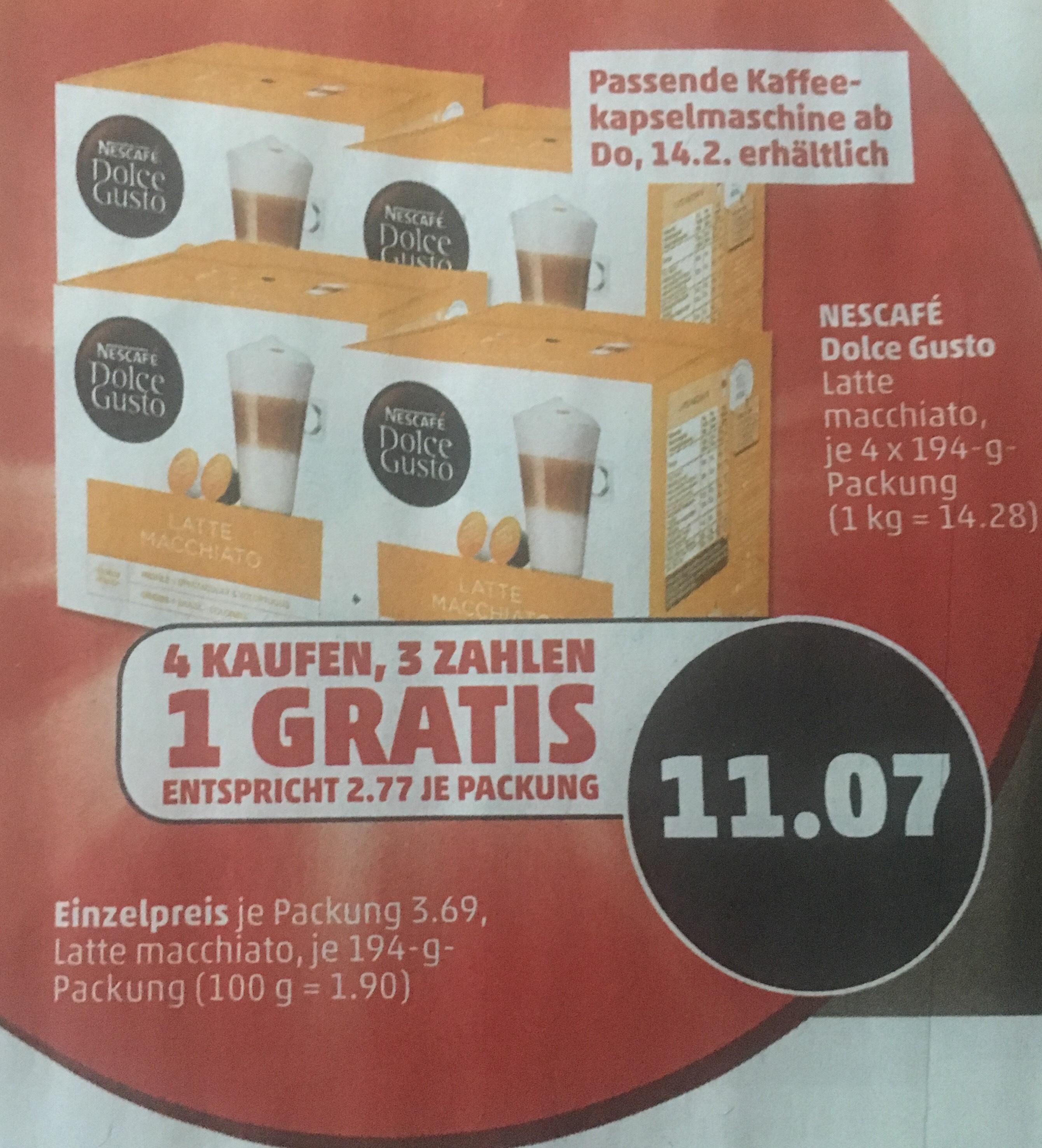 [Penny] Dolce Gusto Kaffeekapseln 4 für 3 Stückpreis 2,77€