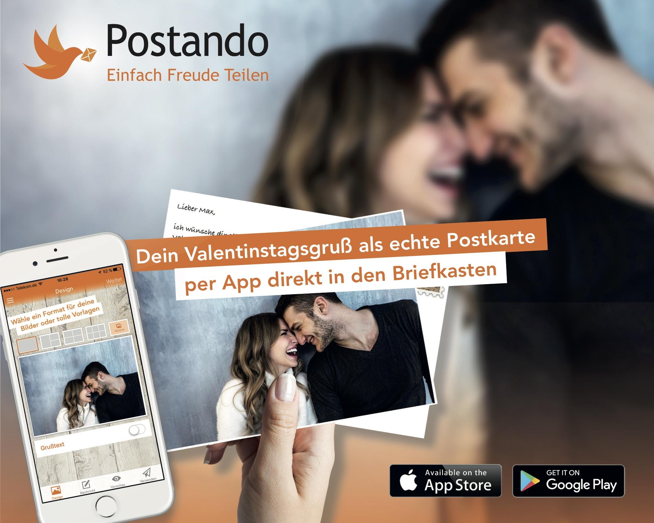 Gratis Valentinstagskarte mit eigenen Fotos versenden [Postando App Android & iOS]