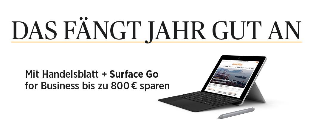 Handelsblatt 24 Monate plus Microsoft Surface Go 128 mit TypeCover und PEN