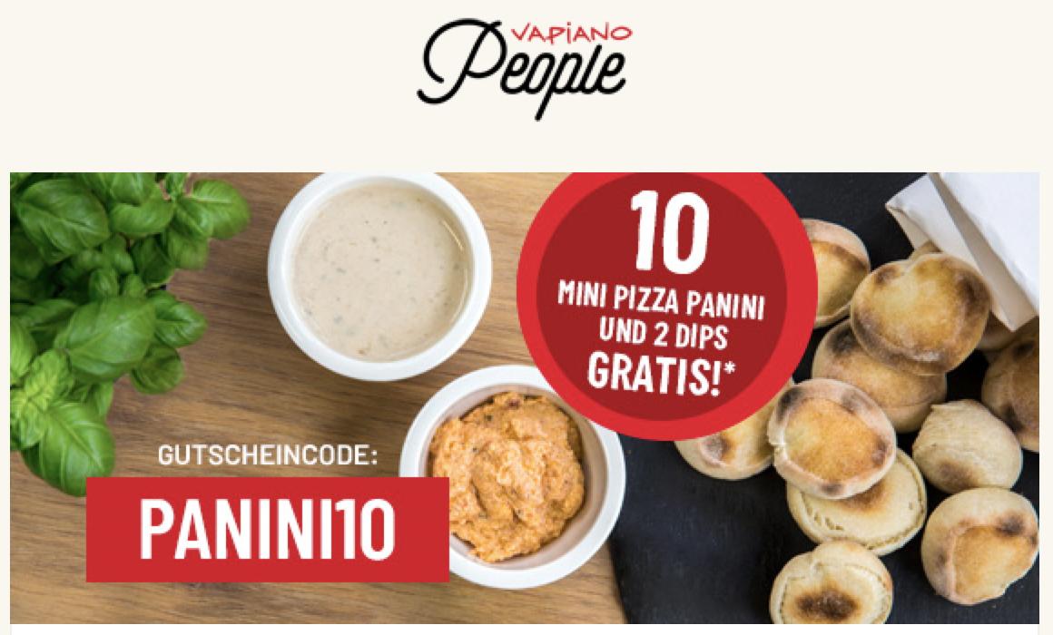 Vapiano People: 10 Mini Pizza Panini + 2 Dips geschenkt bei nächster Bestellung online (gratis statt 4,99€, MBW 2x6€)