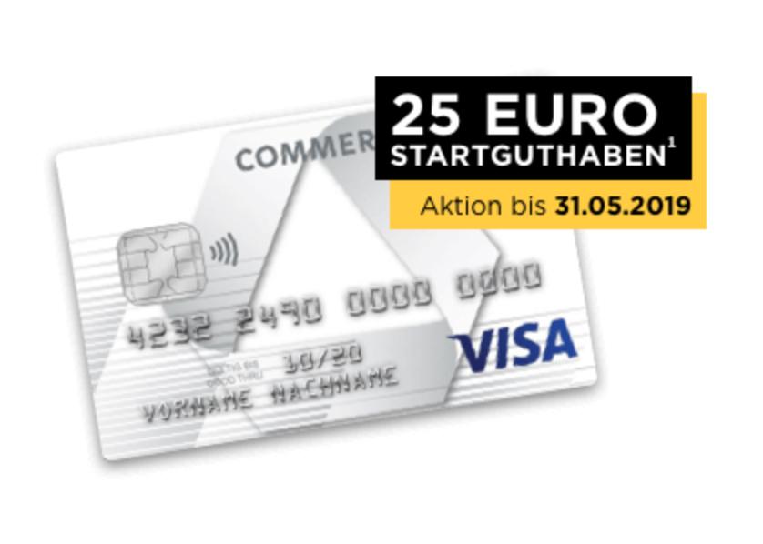 25€ Startguthaben für im ersten Jahr kostenlose Prepaid Kreditkarte der Commerzbank