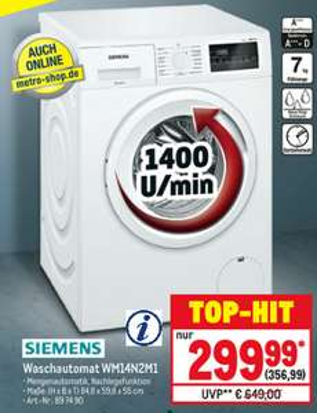 """Siemens 7kg-Waschmaschine """"WM14N2M1"""" (A+++, iQ300) [METRO *mit Karte*]"""