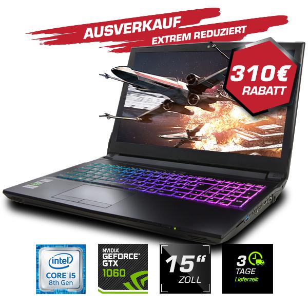 """Guru Venus Gaming-Laptop (15,6"""", Full HD, i5-8400, 16GB RAM, GTX 1060 6GB, WLAN ac, ohne Laufwerk & OS) [Clevo N957TP6]"""