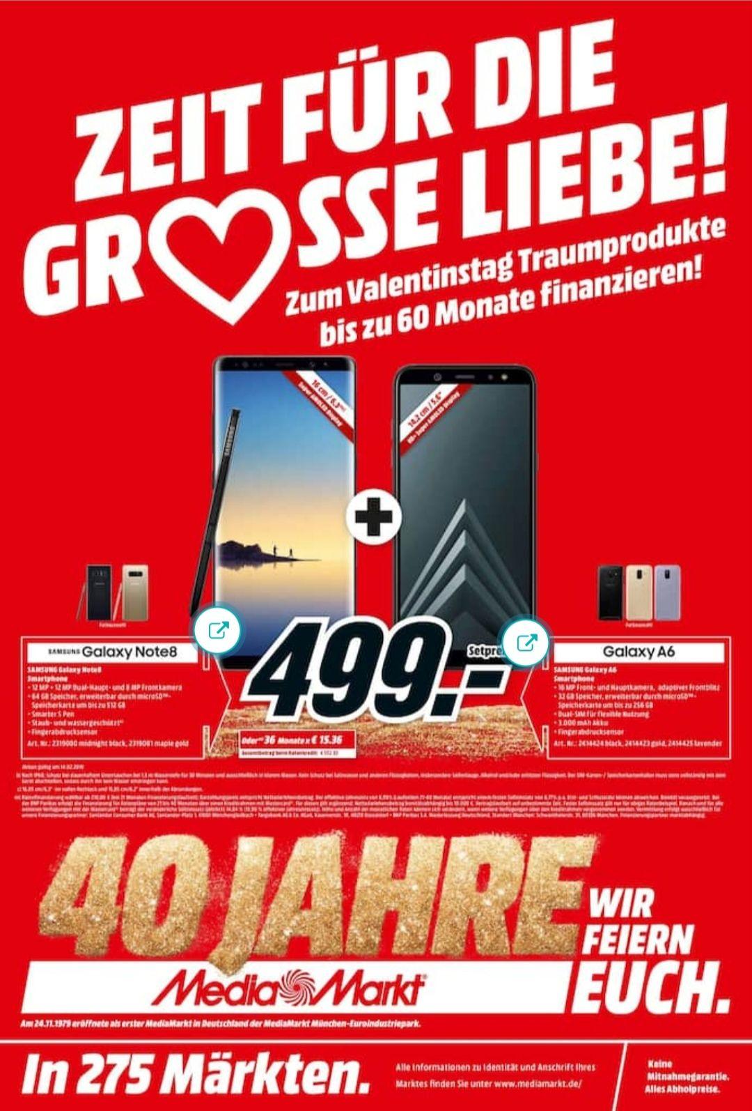 Samsung Galaxy Note 8 + Galaxy A6 2018 für 499€ [Media Markt & Saturn]