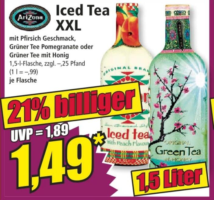 AriZona Iced Tea (1,5 Liter) in verschiedenen Sorten ab 22.02 bei Norma