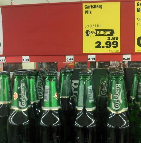 LOKAL im Penny Norderstedt: Carlsberg Bier: 6 x 0,5 Liter für 2,99 € statt 3,99 €