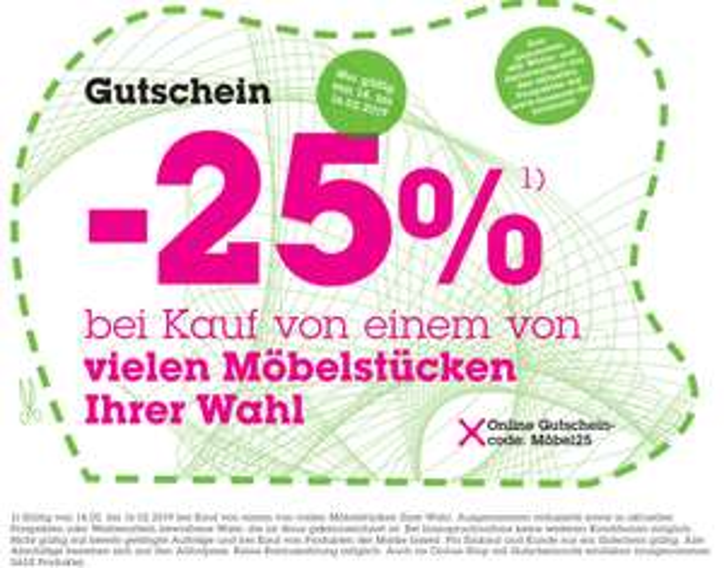 25% Rabatt auf Möbel bei Mömax