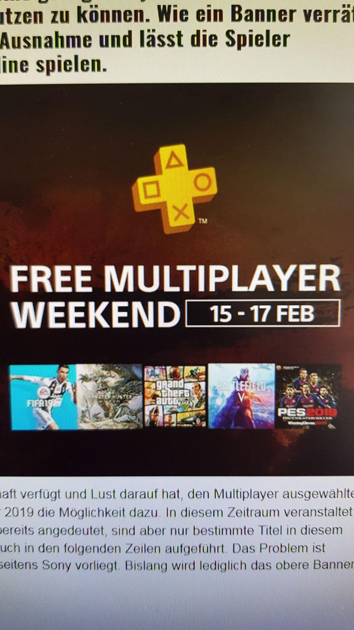 Playstation Plus Free Multiplayer Weekend z.B Red Dead Online
